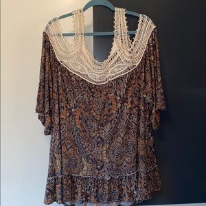 Women's Plus BoHo Cold Shoulder Top